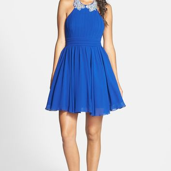 Way-In Embellished Halter Fit & Flare Dress (Juniors)