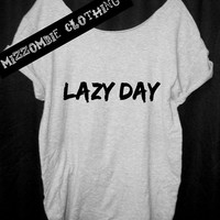 LAZY DAY   Tshirt, Off The Shoulder, Over sized, street style,loose fitting, graphic tee, grunge, goth, punk horror