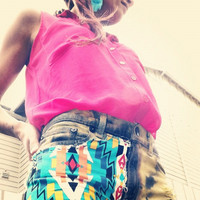 Aztec/ Native / Tribal Print Acid Wash Denim Shorts