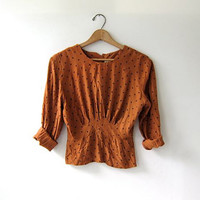 vintage 80s cropped blouse. Polka dot shirt. Copper brown top. Buttons up the back.
