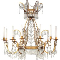 Pair of Neoclassical Ormolu and Cut Glass, Twelve Light Chandeliers