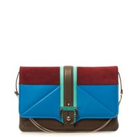 Sylvie leather and suede clutch
