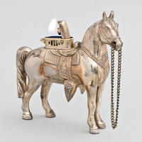 Working Occupied Japan Silverplate Horse Table Lighter