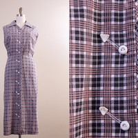 1950s plaid dress / 50s house dress / western arrowhead dress // plus size XL