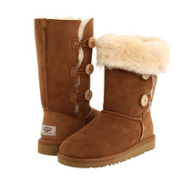 UGG Kids Bailey Button Triplet (Little Kid/Big Kid) Chestnut - Zappos.com Free Shipping BOTH Ways