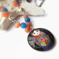 Sweet russian doll beaded blue coral peach stone round glass necklace
