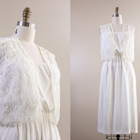 nontraditional wedding dress / vintage wedding dress / white lace vest / deadstock 1970s hippie boho style size small S medium M