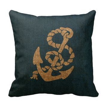 Nautical Anchor and Rope in Deep Sea Blue