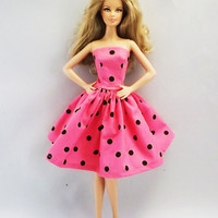 Pink Dots Strapless Handmade Barbie Dress, Barbie Clothes 05