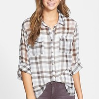 Band of Gypsies Plaid Crochet Back Yoke Chiffon Shirt (Juniors)