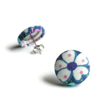 Blue and White Flowers, Surgical Steel Earring, Hypoallergenic Earings, Earrings Post, Stainless Steel Earring