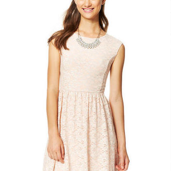Foiled Lace Cap Sleeve Dress