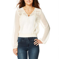 Lace Long-Sleeve Top - Ivory