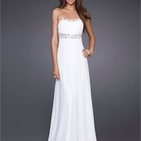 A-line strapless floor length beaded chiffon white Prom Dresses 2012 PDM351