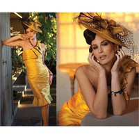 One shoulder yellow satin short Evening Dresses LRED0039