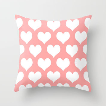 Coral Pink Hearts of Love Throw Pillow by BeautifulHomes | Society6