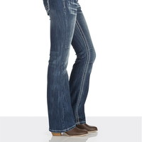 Denim Flex ™ dark wash thick stitch slim boot jeans