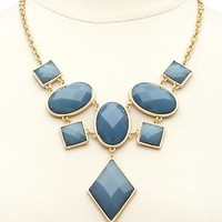 Geometric Faceted Stone Bib Necklace