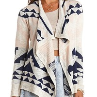Allover Aztec Cascade Cardigan Sweater - Ivory Combo