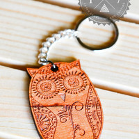 Abstrac Sugar Skull Owl Real wood key chain laser engraved FREE Shipping in USA