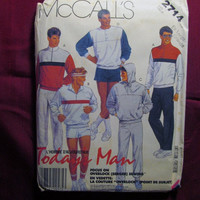 SALE Uncut 1980's McCall's Sewing Pattern, 2714! Extra Large Men's Casual Workout Clothes/Jogging Outfits/Sweatshirts & SweatpantsPullover T