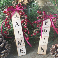 Personalized Scrabble Tile Ornament - 2 to 5 Letters