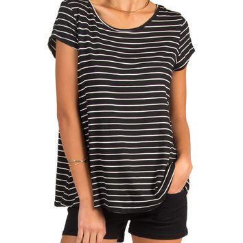 WHITE STRIPED LOOSE FIT TEE