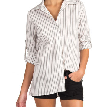 PIN STRIPE BUTTON UP SHIRT