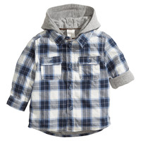 H&M - Shirt with Jersey Lining - Dark blue/Checked - Kids