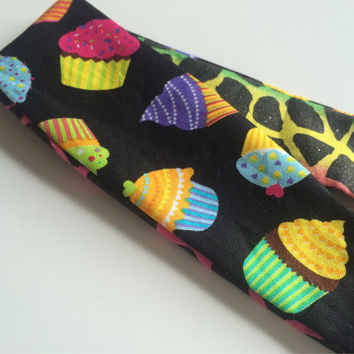Cupcake Headband for Girls - Giraffe Print Headband - Reversible Headband - Sparkly Headband - Bright Color Fabric Headband - Teen Headband
