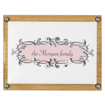 Victorian Frame Pink Personalized Cheese Board