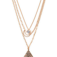With Love From CA 3 Layer Moon Evil Eye Necklace - Womens Jewelry - Gold - One