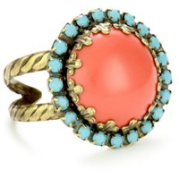 "Sorrelli ""Tropical"" Circular Crystal Adjustable Gold-Tone Ring - designer shoes, handbags, jewelry, watches, and fashion accessories 