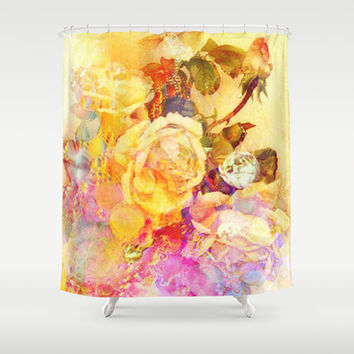 bubble roses Shower Curtain by clemm