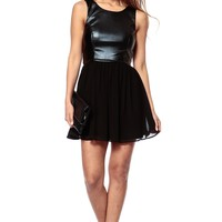 Leather Chiffon Skater Dress @ Cicihot sexy dresses,sexy dress,prom dress,summer dress,spring dress,prom gowns,teens dresses,sexy party wear,ball dresses