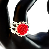 Burgundy Red Flower Ring on Adjustable White Filigree Band