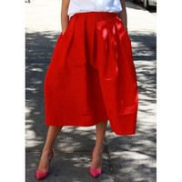 Wholesale Vintage Ruffled Pockets Design Solid Color Mid-Calf Skirt For Women (CLARET,ONE SIZE), Skirts - Rosewholesale.com