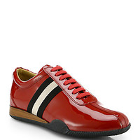Patent Leather Lace-Up Sneakers