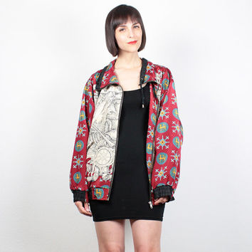 Vintage Bomber Jacket Burgundy Ivory Black Slouch Fit Sporty Track Jacket Windbreaker Novelty Print Bomber 1980s 80s L Extra Large XL