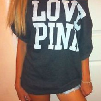 VICTORIA'S SECRET LOVE PINK DARK GRAY CREW SWEATSHIRT TOP BAGGY BOYFRIEND L XL