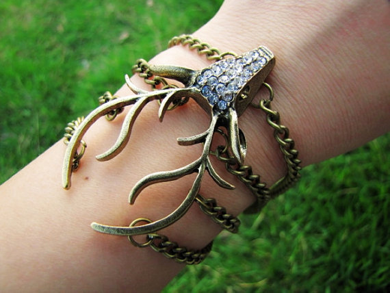 Vintage Style Antique Bronze Deer Antler Pendant Women Girl Chain Cuff Bracelet  438A