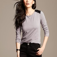Faux-Leather Trim Striped Top