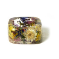 Real Flower Ring- White Flower Ring- Flower Ring- Flower Resin Ring- Resin Jewelry- Real Flower Jewelry- Flower Ring Jewelry- Resin Jewelry