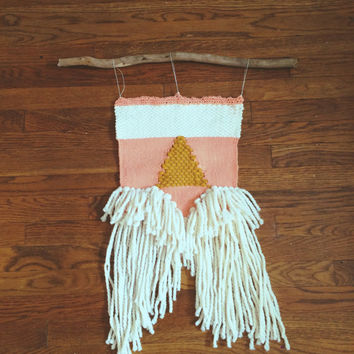Coral, White, & Mustard Triangle Woven Wall Hanging