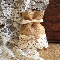 rustic 10 lace covered natural color burlap favor bags, wedding, bridal shower, tea party, baby shower gift bags.