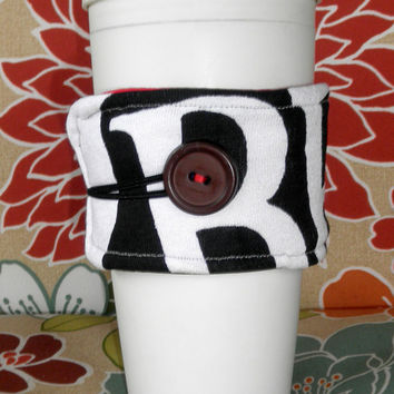 Upcycled T-Shirt Coffee Cozy in Black, White and Red