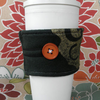 Upcycled T-Shirt Coffee Cozy in Green and Gold