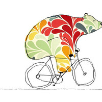 Bear On Bike - 8 x 10 Bears On Bikes Art Print
