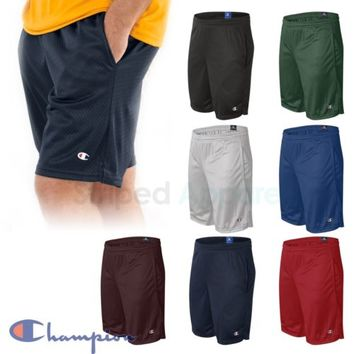 "Champion Mens Poly Mesh 9"" Inseam Gym Shorts with Pockets S-2XL Basketball S162"