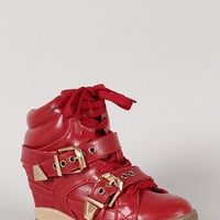 Varon-16 Buckle High Top Lace Up Wedge Sneaker